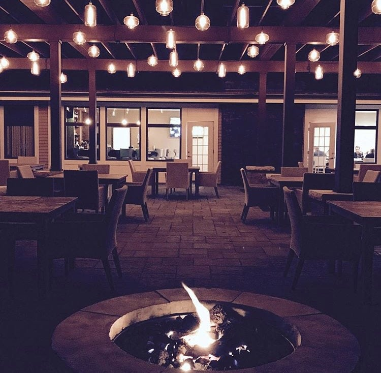 outdoor fire pit at otterkill country club